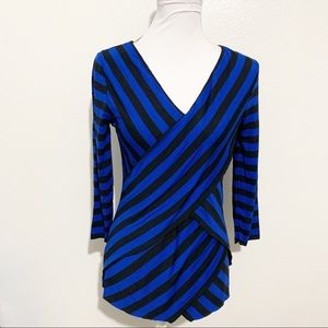 NWT - Vince Camuto Royal Blue/Black Striped Top